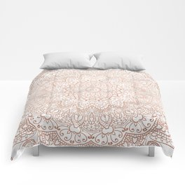 Mandala - rose gold and white marble 3 Comforters