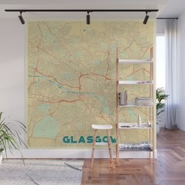 Glasgow Map Retro Wall Mural