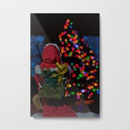 Santa looking at Christmas tree Metal Print