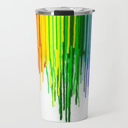 Rainbow Paint Drops on White Travel Mug