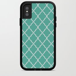 Quatrefoil - Teal iPhone Case