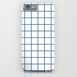 Minimalism Window Pane Grid, Blue on White iPhone Case