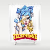 telephone Shower Curtains featuring Telephone by Denda Reloaded