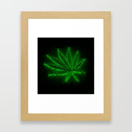 glowing hemp leaf Framed Art Print