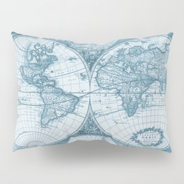 Antique Blue Map Pillow Sham
