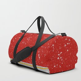 Glitter Stars - Silver Red (Happy Holiday version) Duffle Bag