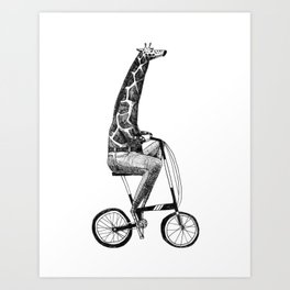 giraffe on a folding bike Art Print