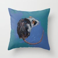 mouse Throw Pillows featuring Mouse by Michael Creese
