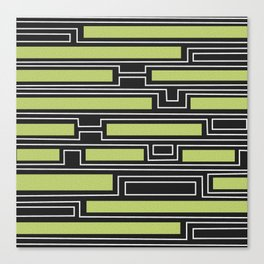 Geometry, black, white and olive green Canvas Print
