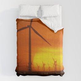 Windmills at Sunset (Digital Art) Comforters