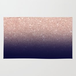 Modern faux rose gold glitter ombre gradient on navy blue Rug