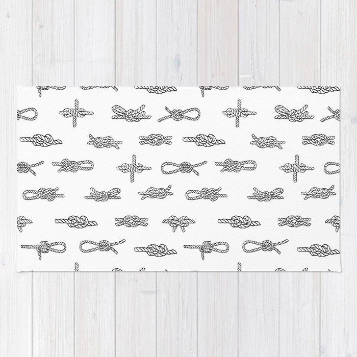 knots pattern sailing nautical knot tying illustration coastal decor Rug
