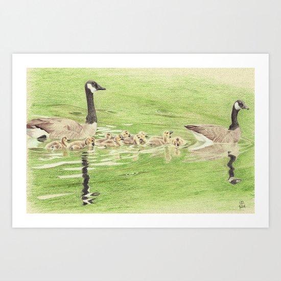 Goose Family Outing Art Print