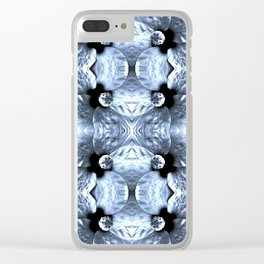 Shiny Blue Flower Design, Pattern Clear iPhone Case