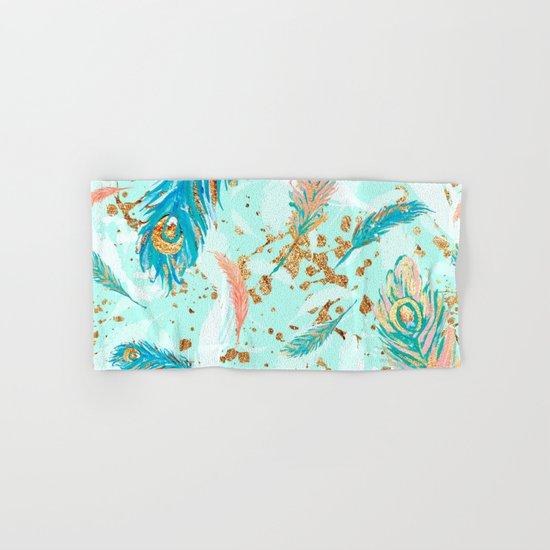 Feather peacock peach mint #1 Hand & Bath Towel