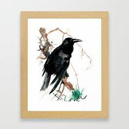 raven, raven crow artwork black brown Framed Art Print