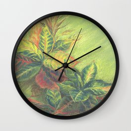 Colorful Leaves on colored paper Wall Clock