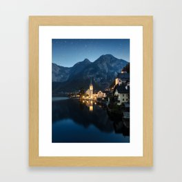 Hallstatt night Framed Art Print