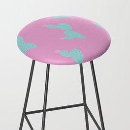 Teal Cactus w/pink background Bar Stool