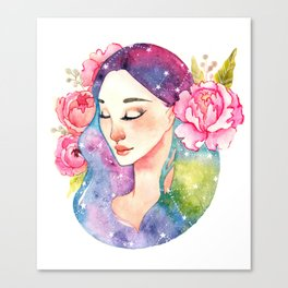 Unearthly supernatural girl with space in the hair. Virgo constellation. Canvas Print