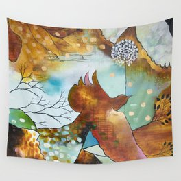 """Two Hearts"" Original Painting by Flora Bowley Wall Tapestry"