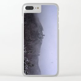 Castle ruin in the snow Clear iPhone Case