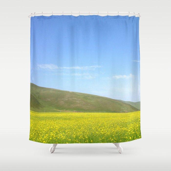 Yellow Flower Field Shower Curtain