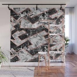 Geometrical modern faux rose gold black white marble Wall Mural