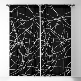Abstract Black and White Minimal Linework Blackout Curtain