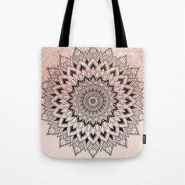 Boho black watercolor floral mandala rose gold glitter ombre pastel blush pink Tote Bag