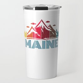 Retro Maine Mountain Design for Men Women and Kids Travel Mug