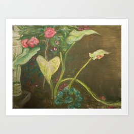 Lilly and Camelia pastel painting Art Print