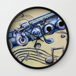 Flute Blues Wall Clock