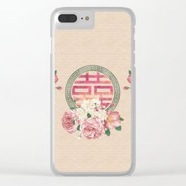 Watercolor Double Happiness Symbol with  Peony flowers Clear iPhone Case