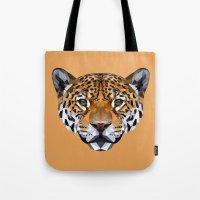 jaguar Tote Bags featuring Jaguar by peachandguava