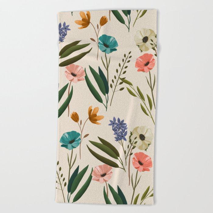 Floral 247 Cream Beach Towel