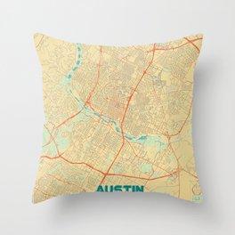 Austin Map Retro Throw Pillow