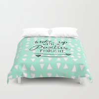 positive Duvet Covers featuring Positive Thought by Tangerine-Tane