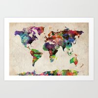 canada Art Prints featuring World Map Urban Watercolor by artPause
