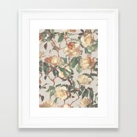 bedding Framed Art Prints featuring Soft Vintage Rose Pattern by micklyn