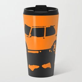 Saab 99 EMS, Orange on Black Travel Mug