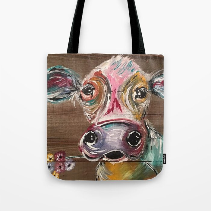 Gorgeous Cow on Wood Tote Bag