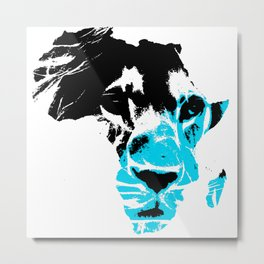 Lion Heart Afric Aqua Blue Metal Print