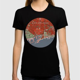 Barcelona city map classic T-shirt