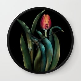 Tulips in shade and light Wall Clock