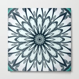 Black and White w/Teal Accent Mandala Metal Print