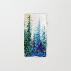 Mountain Landscape Pines In Blue-Greens-Purple Hand & Bath Towel