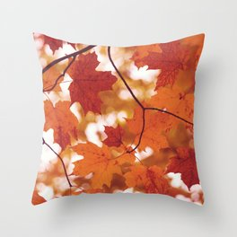 Fluttering from the Autumn tree Throw Pillow