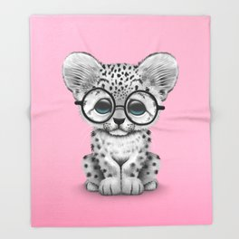 Cute Snow Leopard Cub Wearing Glasses on Pink Throw Blanket