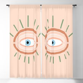 Retro evil eye - neutrals Blackout Curtain